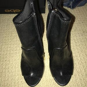 Bebe Black Booties Size 6
